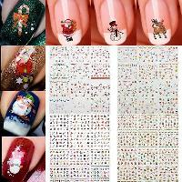 12 Sheets Merry Christmas 3D Nail Art Stickers Snowflakes Snowmen Nail Decals for sale  Shipping to Canada