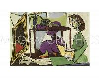"PICASSO PABLO - INTERIOR WITH A GIRL DRAWING - Artwork Reproduct 11"" x 14"" (491), used for sale  Shipping to Canada"