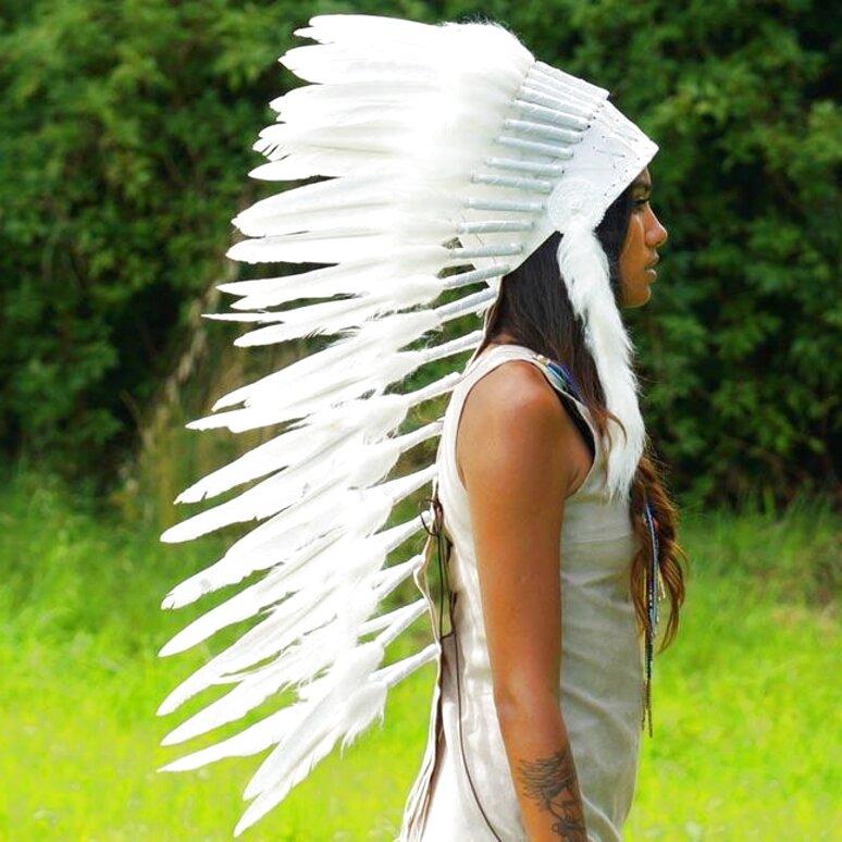 white indian headdress for sale