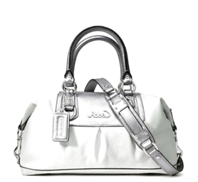 silver coach purse for sale